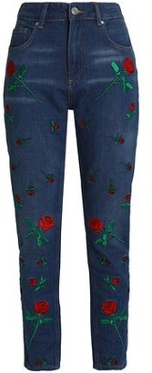 Zoe Karssen Embroidered High-Rise Straight-Leg Jeans