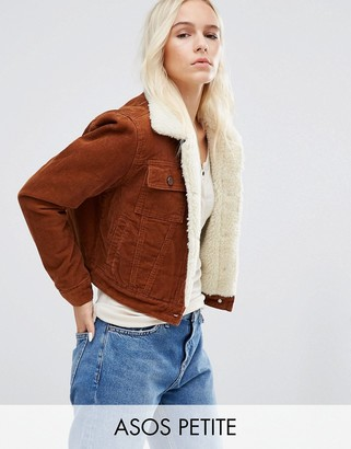 ASOS Petite ASOS PETITE ASOS Cord Cropped Jacket with Borg in Rust $79 thestylecure.com