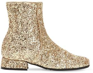 MonnaLisa Glittered Faux Leather Ankle Boots