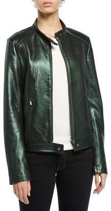 Neiman Marcus Leather Collection Metallic Leather Moto Jacket