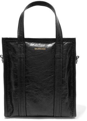Balenciaga Bazar Xs Textured-leather Tote - Black