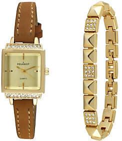 Peugeot Women's Goldtone Square Watch & Bracelet Gift Set