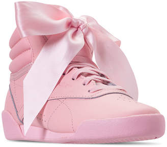 6ca601e57f4e6 Reebok Little Girls  Freestyle High Top Satin Bow Casual Sneakers from  Finish Line