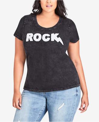 City Chic Trendy Plus Size Cotton Rock Graphic-Print T-Shirt