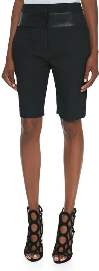 Alexander Wang Leather-Waist Bermuda Shorts, Onyx