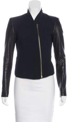 Helmut Lang Leather-Trimmed Wool-Blend Jacket