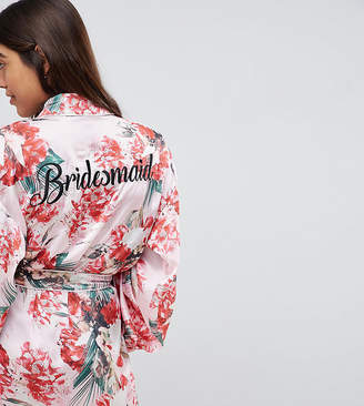 Missguided Bridesmaid Satin Floral Robe