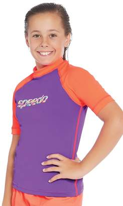 Speedo Girls Logo Short Sleeve Sun Top