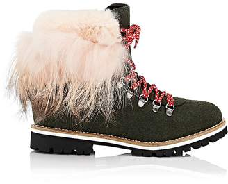 Mr & Mrs Italy Women's Fur-Cuff Felt Hiker Boots