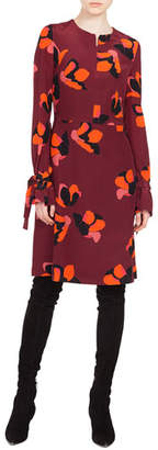 Akris Punto Round-Neck Long-Sleeve A-Line Ruched-Cuff Anemone-Print Silk Dress