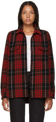 Saint Laurent Red and Black Brushed Flannel Shirt