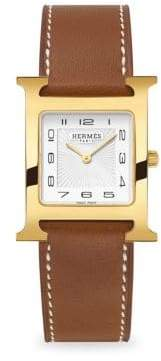 Hermes Heure H, Gold Plate& Leather Strap Watch