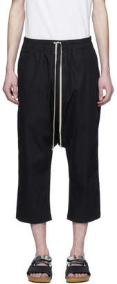 Rick Owens Black Cotton Cropped Drawstring Lounge Pants