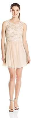 Speechless Junior's Sleeveless Lace Tulle Illlusion Short Prom Dress