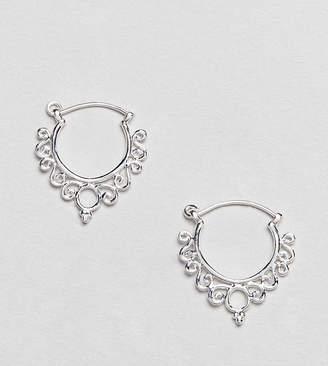 Asos Design DESIGN Sterling Silver Ornate Cut Out Hoop Earrings