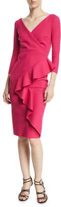 Chiara Boni Ceren Faux-Wrap Ruffle Cocktail Dress