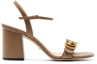 Gucci Marmont Gg Leather Sandals - Womens - Beige
