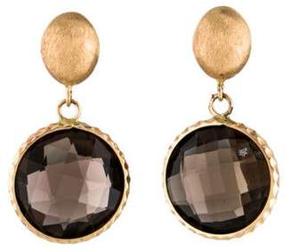 14K Smoky Quartz Drop Earrings