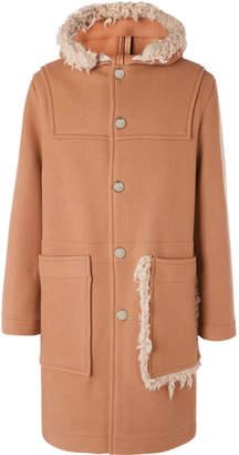 Acne Studios Shearling-Trimmed Brushed Wool-Blend Hooded Duffel Coat