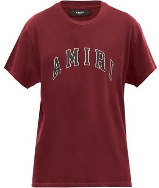 Amiri Logo Print Cotton T Shirt - Mens - Burgundy