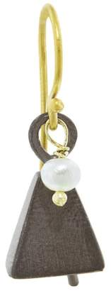 Ileana Makri EYE M by Single Oxidized Bell Earring - Pearl