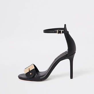 River Island Black buckle barely there sandals