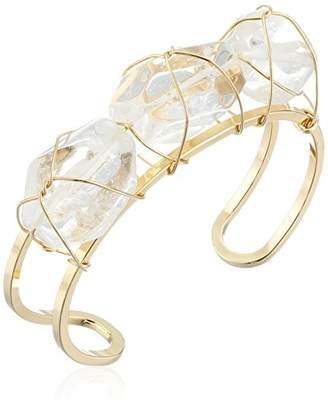 Yochi Trio Quartz Wrapped on Open Cuff Bracelet