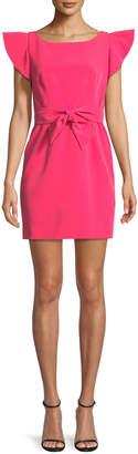 Milly Italian Cady Ruffle-Sleeve Bow Mini Dress