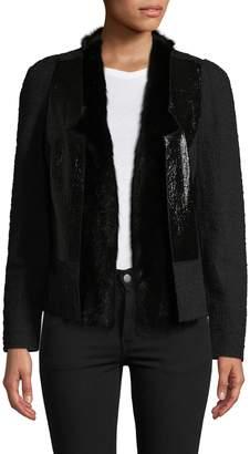 Carolina Herrera Women's Mink Fur-Trimmed Textured Blazer