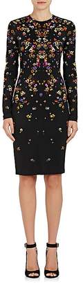 Givenchy Women's Pansy-Print Jersey Long-Sleeve Dress