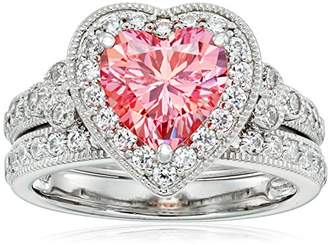 Swarovski Platinum-Plated Sterling Silver Zirconia Heart Antique Ring