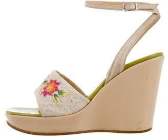 Sergio Rossi Floral Embroidered Platform Wedges