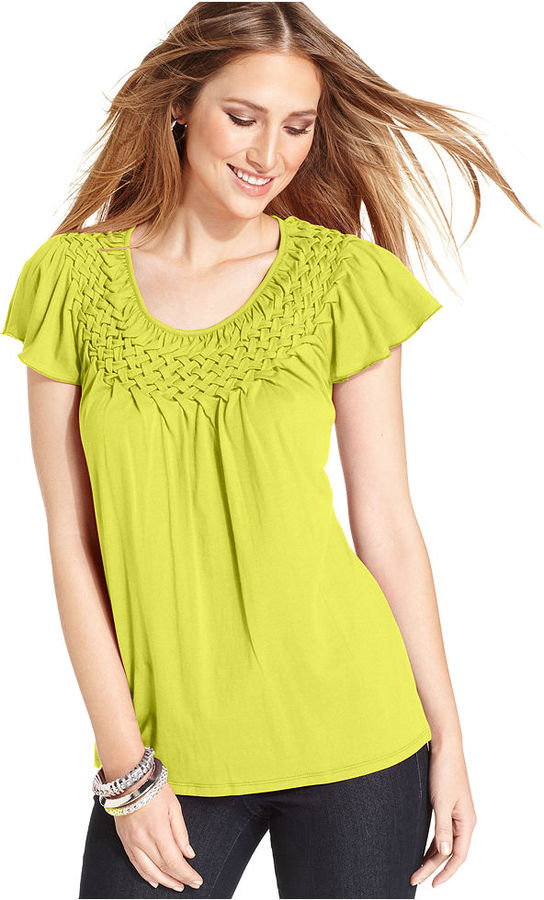 Style&Co. Petite Top, Cap-Sleeve Basketweave Collar