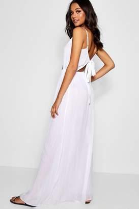 boohoo Tall Cut Out Detail Tie Back Maxi Dress