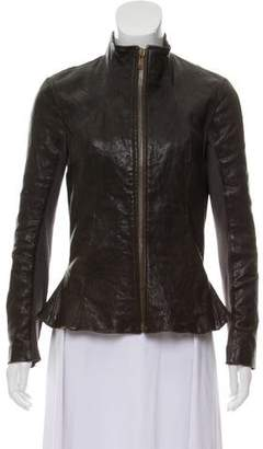 Rick Owens Distressed Leather Jacket
