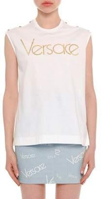 Versace Sleeveless Logo Button-Shoulder Cotton Top