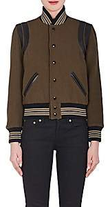 Saint Laurent Women's Leather-Trim Virgin Wool-Blend Varsity Jacket - Olive
