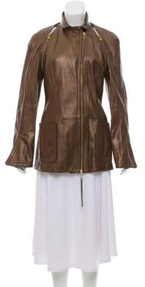 Gianfranco Ferre Long-Sleeve Faux-Leather Jacket
