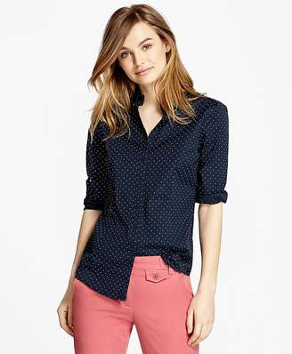 Polka-Dot Stretch Cotton Poplin Shirt $78 thestylecure.com