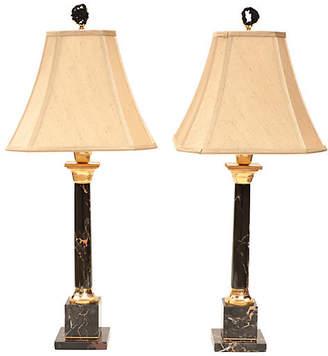 One Kings Lane Vintage Portoro Marble Table Lamps - Set of 2 - Pythagoras Place