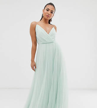 Asos Design DESIGN Petite cami pleated tulle maxi dress