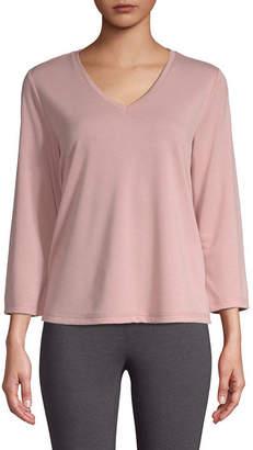 ST. JOHN'S BAY SJB ACTIVE Active-Womens V Neck 3/4 Sleeve T-Shirt