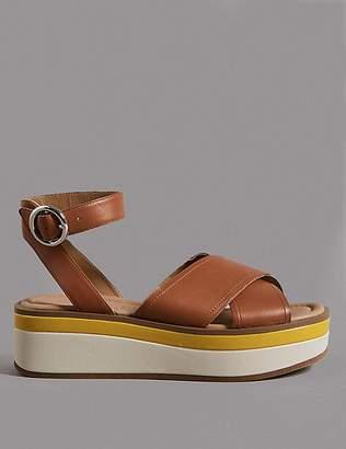 Marks and Spencer Leather Cross Strap Flatform Sandals