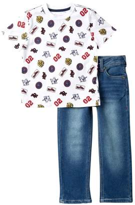 True Religion Patch Short Sleeve Tee & Pants Set (Toddler Boys)