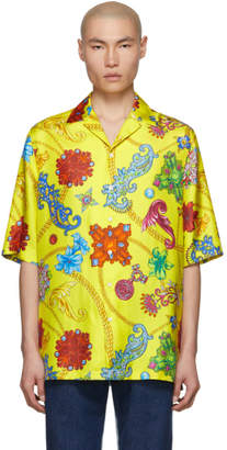 Versace Yellow Silk Chain Shirt