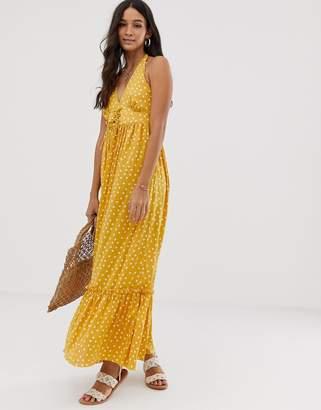 Asos Design DESIGN halter maxi dress with lace up in polka dot