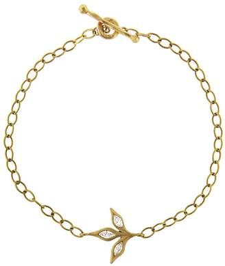 Cathy Waterman Three Leaf Diamond Chain Bracelet - Yellow Gold