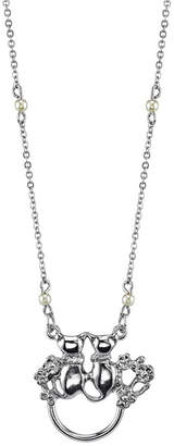 """2028 Silver-Tone Simulated Pearl Chain Double Cats Eyeglass/Badge Holder Necklace 28"""""""