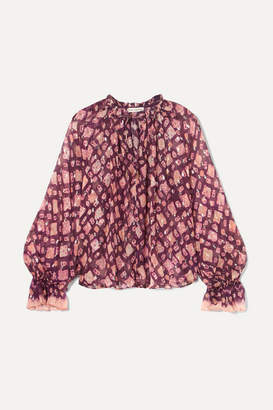 Ulla Johnson Naliah Printed Metallic Fil Coupé Silk-blend Chiffon Blouse - Plum