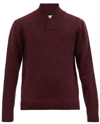 Inis Meáin Shawl Neck Merino Wool And Cashmere Blend Sweater - Mens - Purple